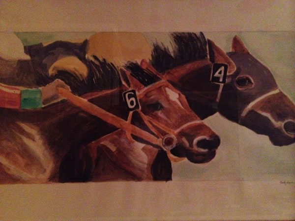 Painting of racing horses