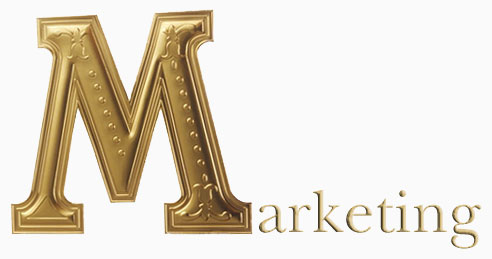 The word Marketing in gold letters