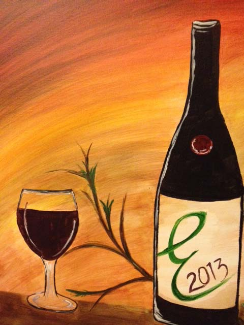 Painting of wine bottle and glass